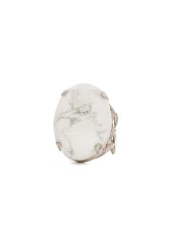 Simple Crystal Ring in Antique Silver-tone White Howlite