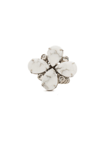 Fleur De Ring in Antique Silver-tone White Howlite