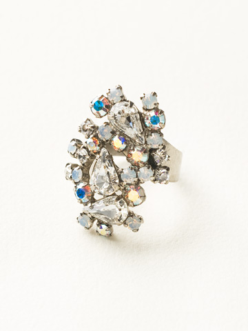 Classically Clustered Ring in Antique Silver-tone White Bridal