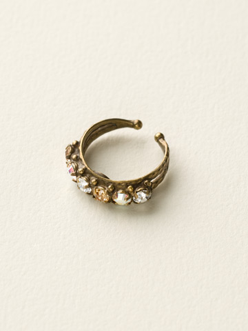 Slim Crystal Ring in Antique Gold-tone Neutral Territory
