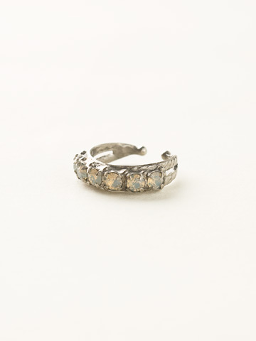 Slim Crystal Ring in Antique Silver-tone Crystal Moss