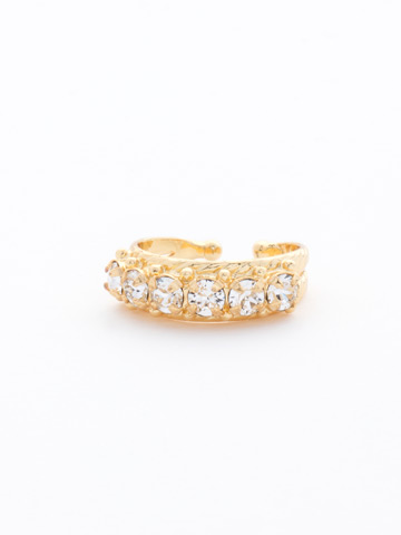 Slim Crystal Ring in Bright Gold-tone Crystal