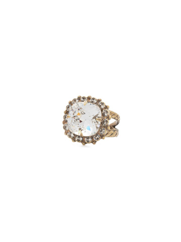 Crystal Cushion-Cut Ring in Antique Gold-tone Crystal