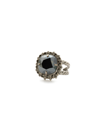 Crystal Cushion-Cut Ring in Antique Silver-tone Black Onyx