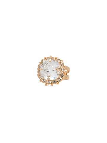 Crystal Cushion-Cut Ring in Bright Gold-tone Crystal