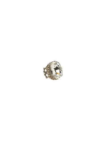 Oval Cut Crystal Cocktail Ring in Antique Silver-tone Evening Moon