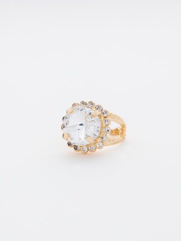 Round Cut Cocktail Ring in Bright Gold-tone Crystal