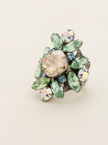 Floral Crystal Cluster Cocktail Ring in Antique Silver-tone Eggshell