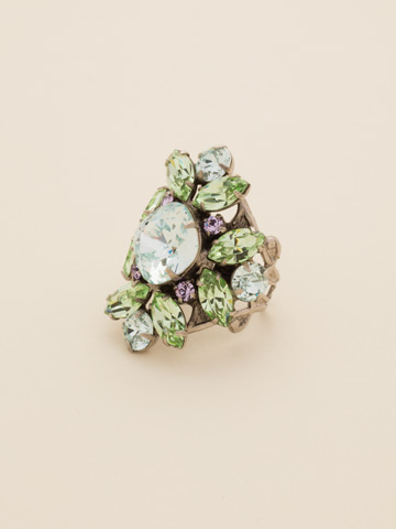 Floral Crystal Cluster Cocktail Ring in Antique Silver-tone Running Water