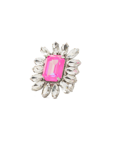 Emerald Botanical Crystal Cocktail Ring in Antique Silver-tone Pink Mutiny