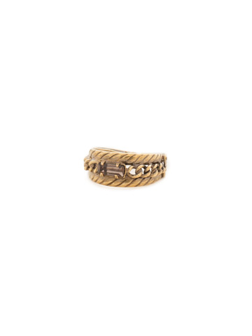 Petite Braided Baguette Ring in Antique Gold-tone Green Tapestry