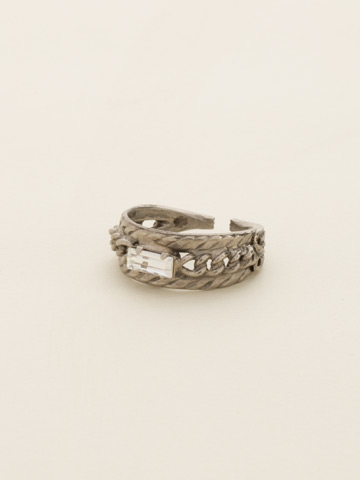 Petite Braided Baguette Ring in Antique Silver-tone Snow Bunny
