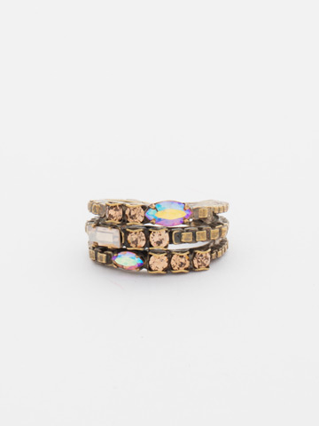 Triple Stacked Crystal Ring in Antique Gold-tone Neutral Territory