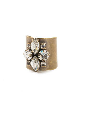 Flower Navette Cuff Ring in Antique Gold-tone Crystal