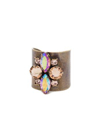 Flower Navette Cuff Ring in Antique Gold-tone Neutral Territory