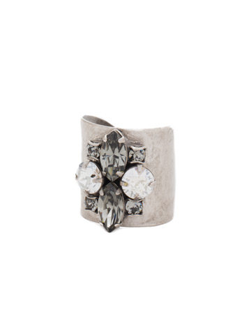 Flower Navette Cuff Ring in Antique Silver-tone Crystal Rock