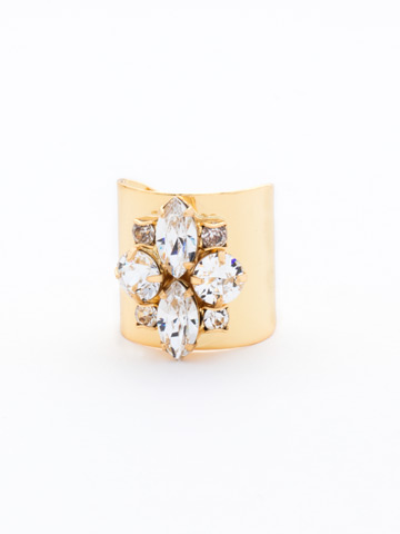Flower Navette Cuff Ring in Bright Gold-tone Crystal