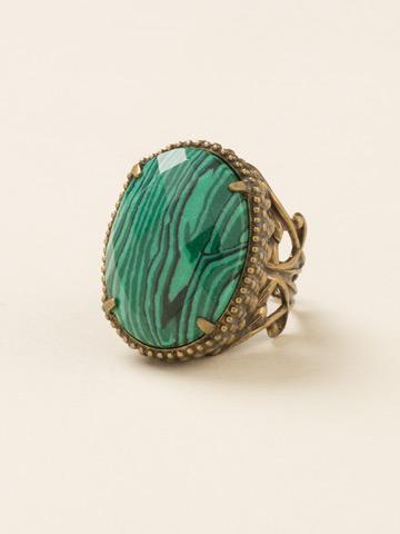 Semi-Precious Solitaire Ring in Antique Gold-tone Wild Fern