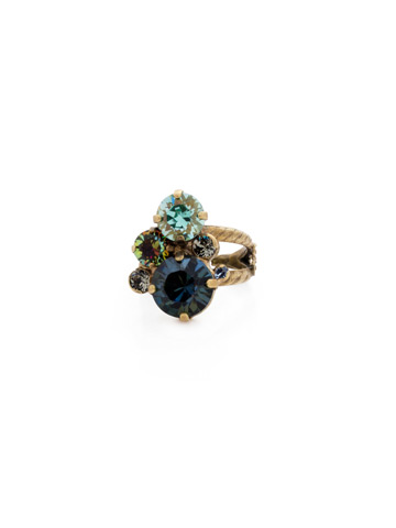 Crystal Assorted Rounds Ring in Antique Gold-tone Crystal Patina