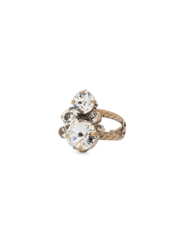 Crystal Assorted Rounds Ring in Antique Gold-tone Crystal