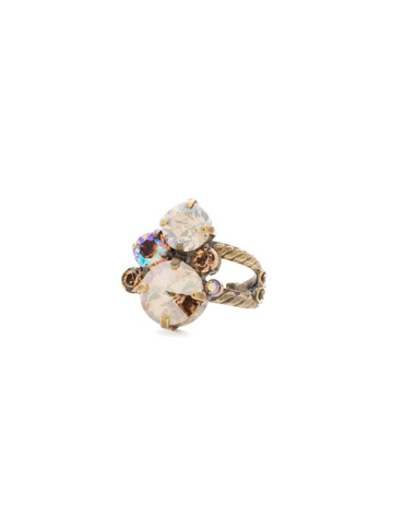 Crystal Assorted Rounds Ring in Antique Gold-tone Neutral Territory