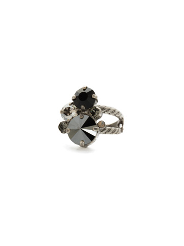 Crystal Assorted Rounds Ring in Antique Silver-tone Black Onyx