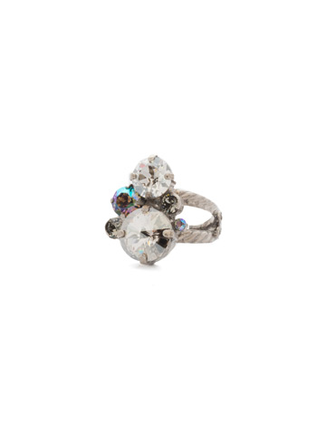 Crystal Assorted Rounds Ring in Antique Silver-tone Crystal Rock