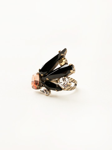 Crystal Wing Cocktail Ring in Antique Gold-tone Black Fringe