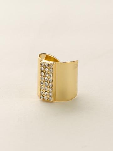 Crystal Rhinestone Rows Cuff Ring in Bright Gold-tone Crystal