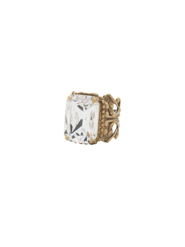 Emerald Cut Band Ring in Antique Gold-tone Crystal
