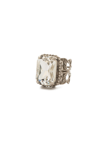 Emerald Cut Band Ring in Antique Silver-tone Crystal