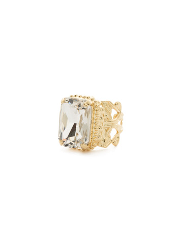 Emerald Cut Band Ring in Bright Gold-tone Crystal