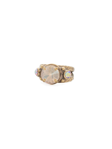 Radiant Round Ring in Antique Gold-tone Neutral Territory