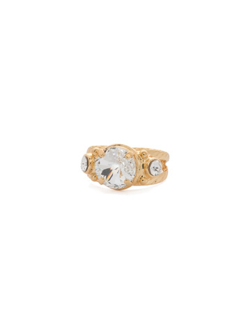 Radiant Round Ring in Bright Gold-tone Crystal