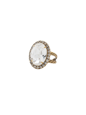 Classic Oval Cut Ring in Antique Gold-tone Crystal