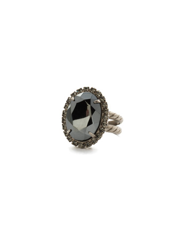 Classic Oval Cut Ring in Antique Silver-tone Black Onyx