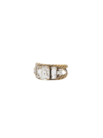 Petite Geo Ring in Antique Gold-tone Crystal