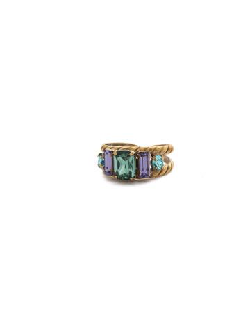 Petite Geo Ring in Antique Gold-tone Jewel Tone