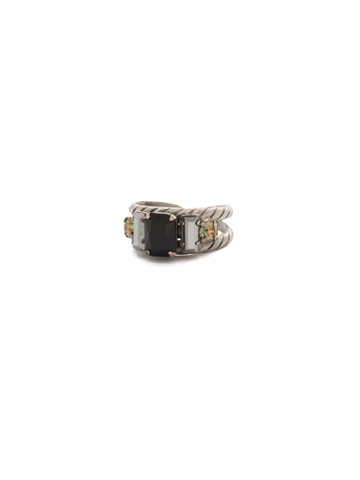 Petite Geo Ring in Antique Silver-tone Black Onyx