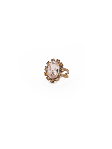 Radiant Oval Ring in Antique Gold-tone Sandstone