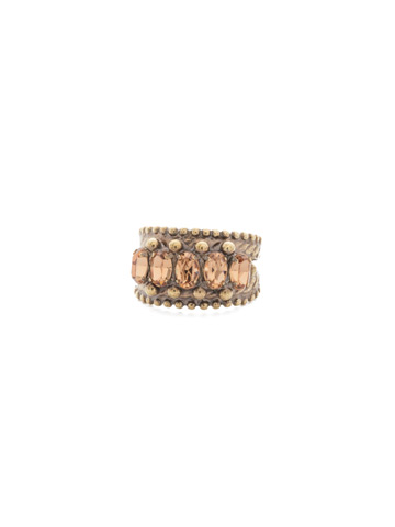 Crown Jewel Statement Ring in Antique Gold-tone Neutral Territory