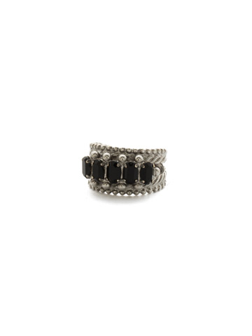 Crown Jewel Statement Ring in Antique Silver-tone Black Onyx