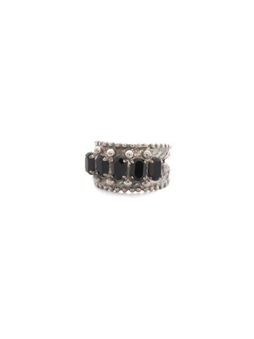 Crown Jewel Statement Ring in Antique Silver-tone Crystal Noir