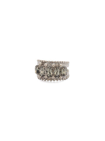 Crown Jewel Statement Ring in Antique Silver-tone Crystal Rock