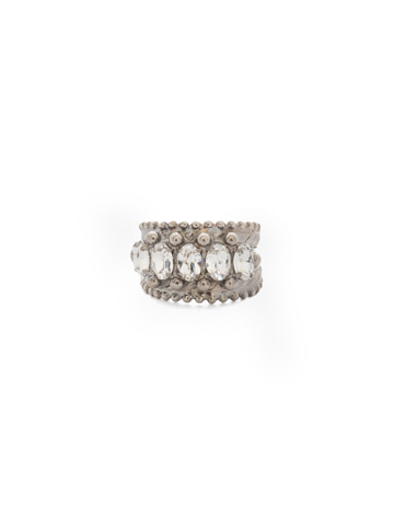 Crown Jewel Statement Ring in Antique Silver-tone Crystal