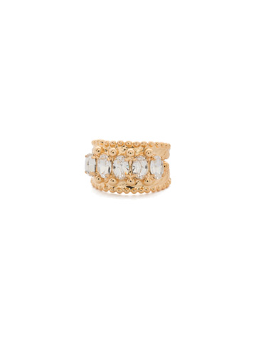Crown Jewel Statement Ring in Bright Gold-tone Crystal