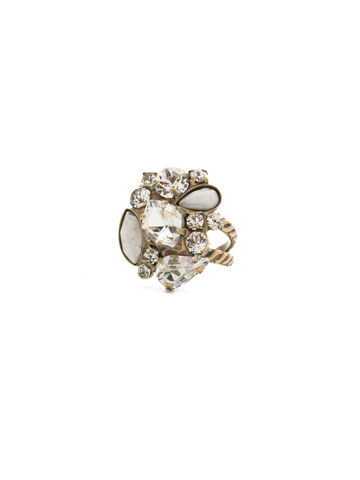 Contemporary Cluster Ring in Antique Gold-tone Crystal