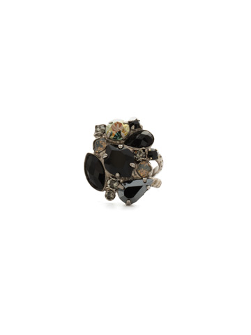 Contemporary Cluster Ring in Antique Silver-tone Black Onyx