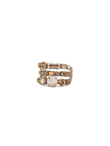 Triple Threat Ring in Antique Gold-tone Neutral Territory