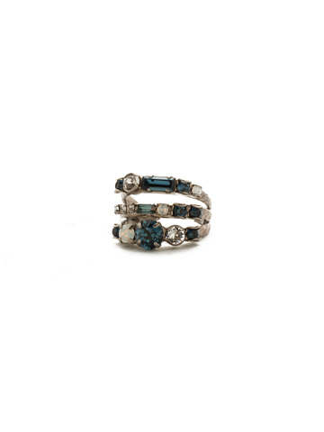 Triple Threat Ring in Antique Silver-tone Glory Blue
